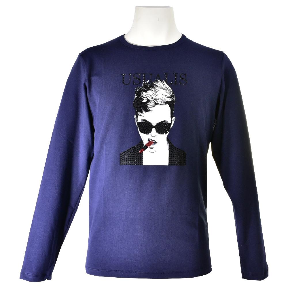 USUALIS ウザリス 長袖Tシャツ メンズ 2019春夏 ストレッチ 袖プリント 人物 ラインストーン 91-1505-60