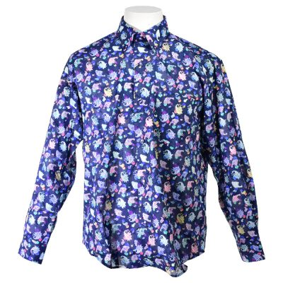 PAGELO パジェロ 長袖ボタンダウンシャツ メンズ 2019春夏 総柄プリント 透け 91-1117-07
