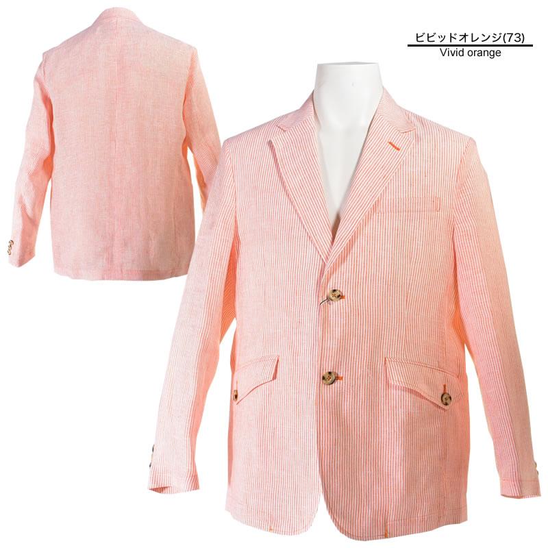 パジェロ メンズ 2019春夏 テーラードジャケット 麻 ストライプ 背抜き 91-4106-07c