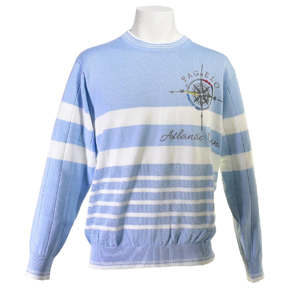 PAGELO パジェロ 長袖セーター メンズ 2019春夏 ロゴプリント刺繍 メッシュ切替 91-7002-07